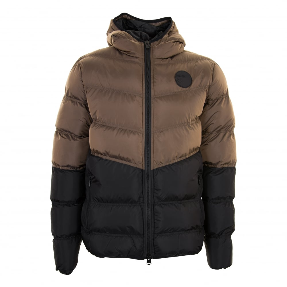 4Bidden Mens Combat Padded Bubble Jacket (Brown/Black) - Mens from ...