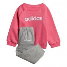 9f46a46751ca ADIDAS Infants Linear Fleece Jogger Suit (Pink   Grey)