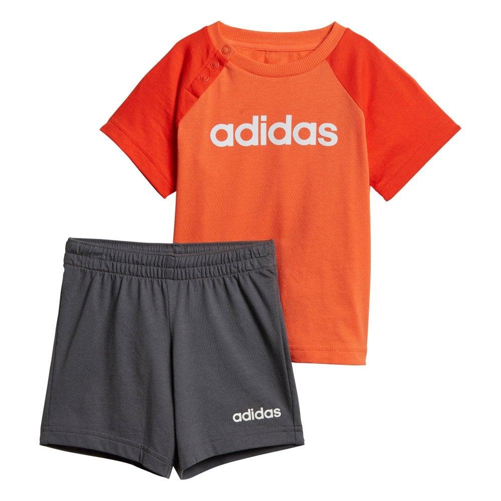 42cb85a340 ADIDAS Infants Linear Summer Top & Shorts Set (Orange / Grey) - Kids ...