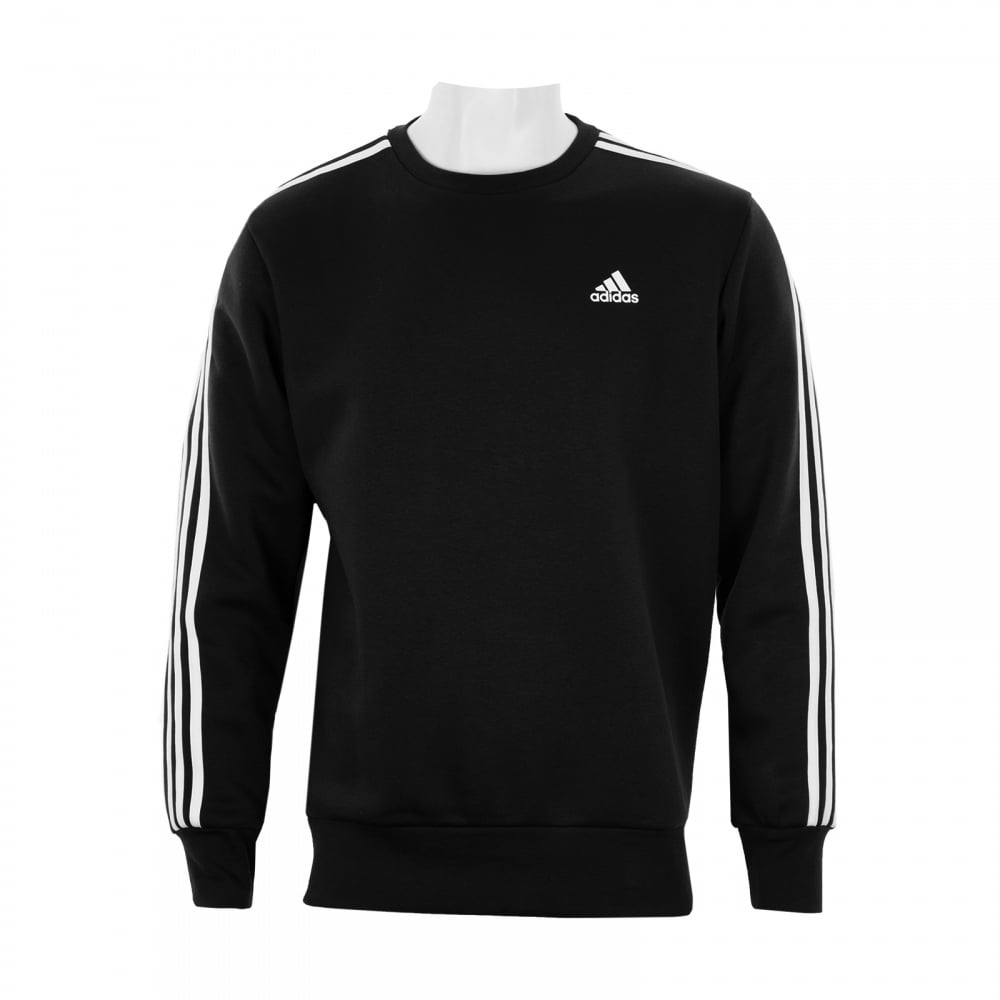 07ad2d6e0510c ADIDAS Mens 3-Stripe Crew Sweatshirt (Black) - Mens from Loofes UK