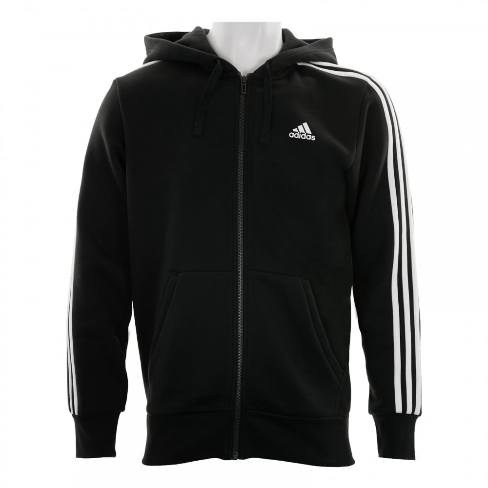 6d0ad7a24c3e ADIDAS Mens 3-Stripe Hoodie (Black White) - Mens from Loofes UK