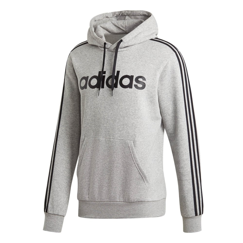 Mens Essentials 3-Stripe Fleece Overhead Hoodie (Grey)