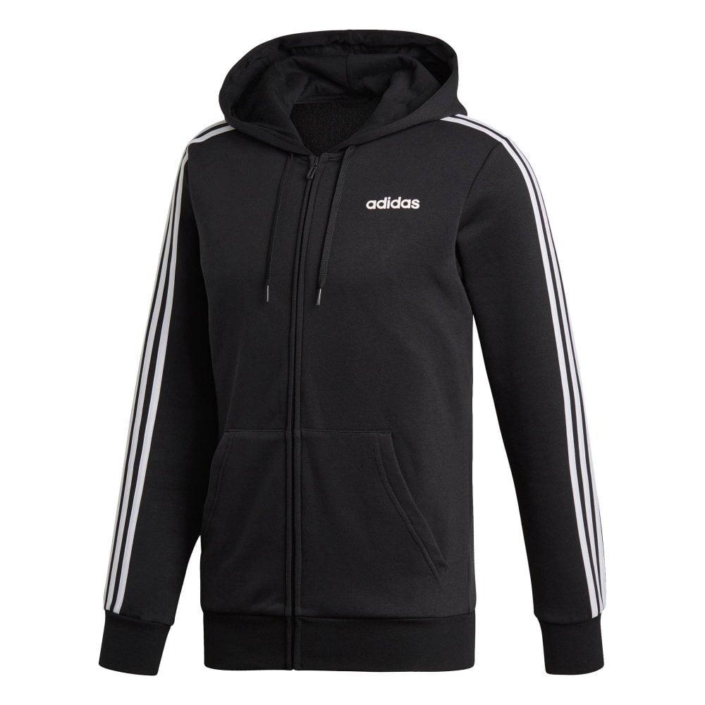 Mens Essentials 3 Stripe Full Zip Hoodie (Black)