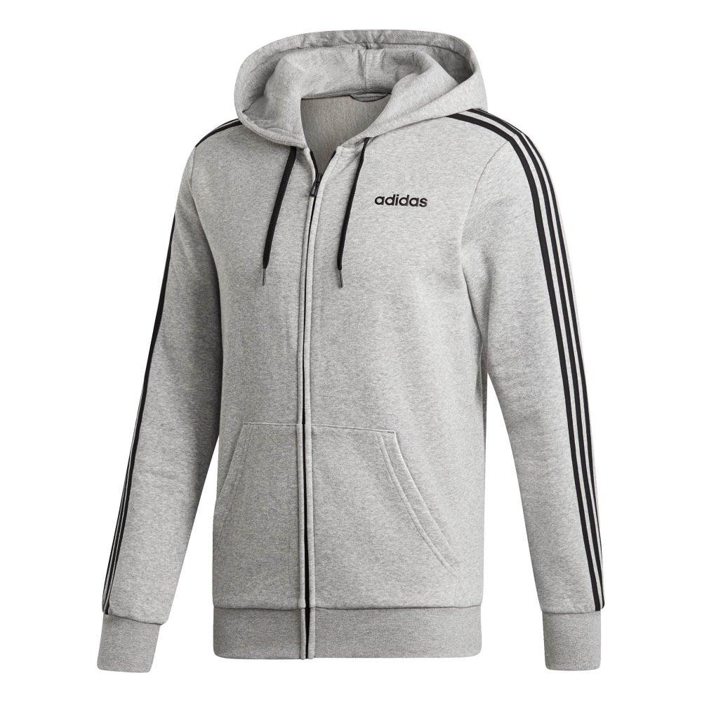ADIDAS ADIDAS Mens Essentials 3 Stripe Full Zip Hoodie (Grey)