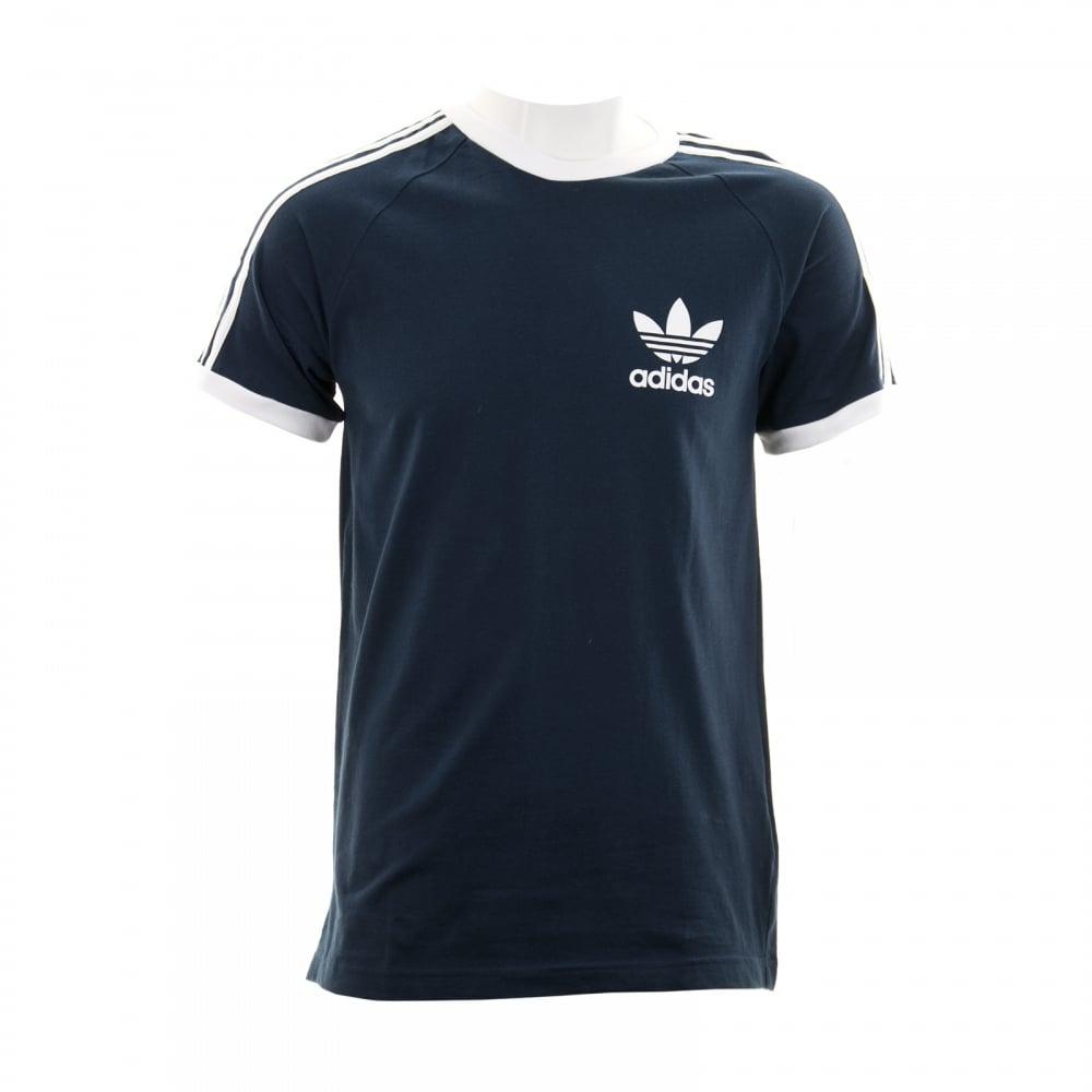adidas originals mens 3 stripe tshirt navy mens from