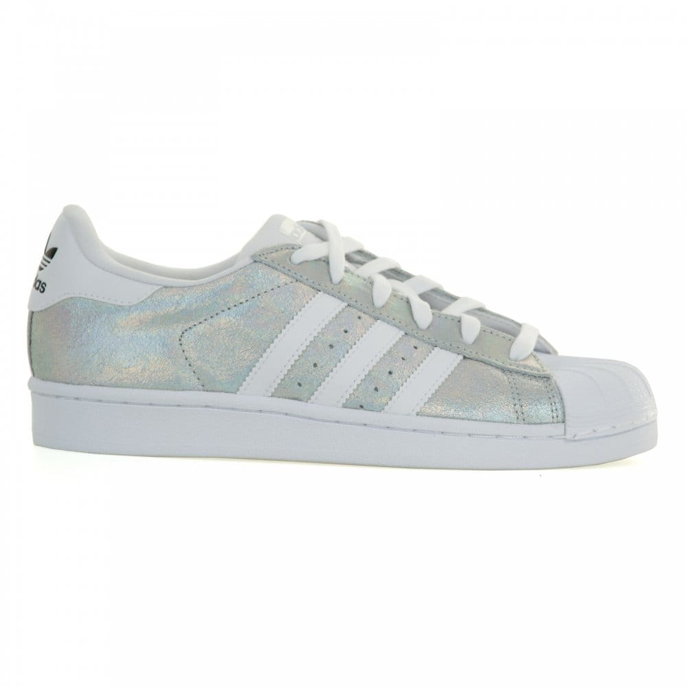 Adidas Superstar White And Silver Glitter
