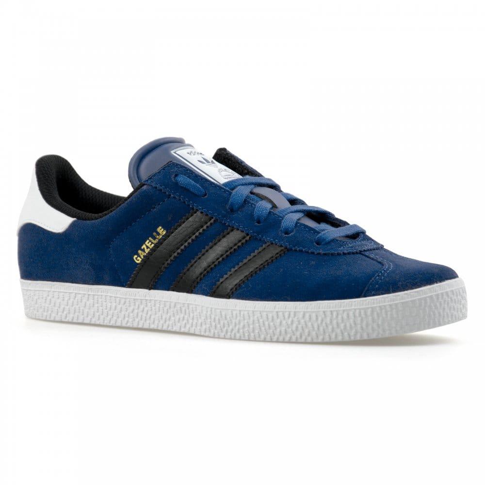 Adidas Gazelle 2 Black/White Leather Trainers
