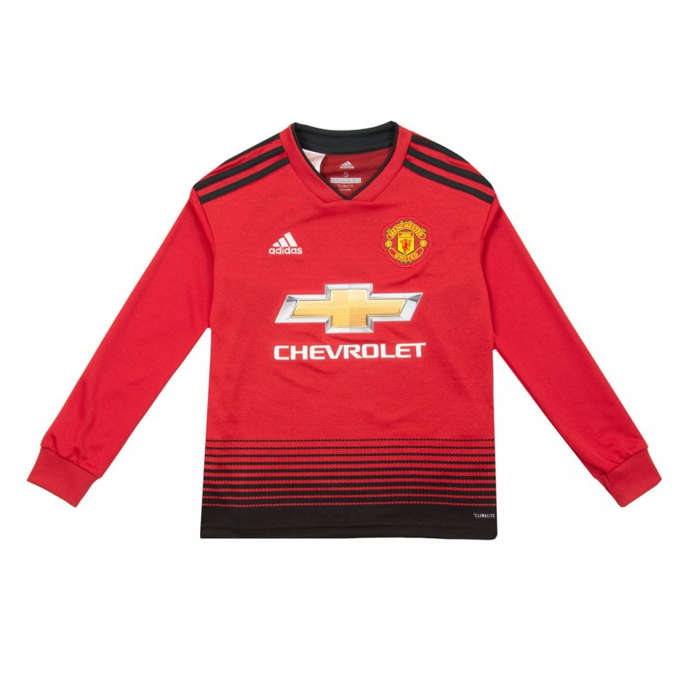 67213d64f ADIDAS Performance Juniors Manchester United 2018 2019 Long Sleeve Home  Shirt (Red)