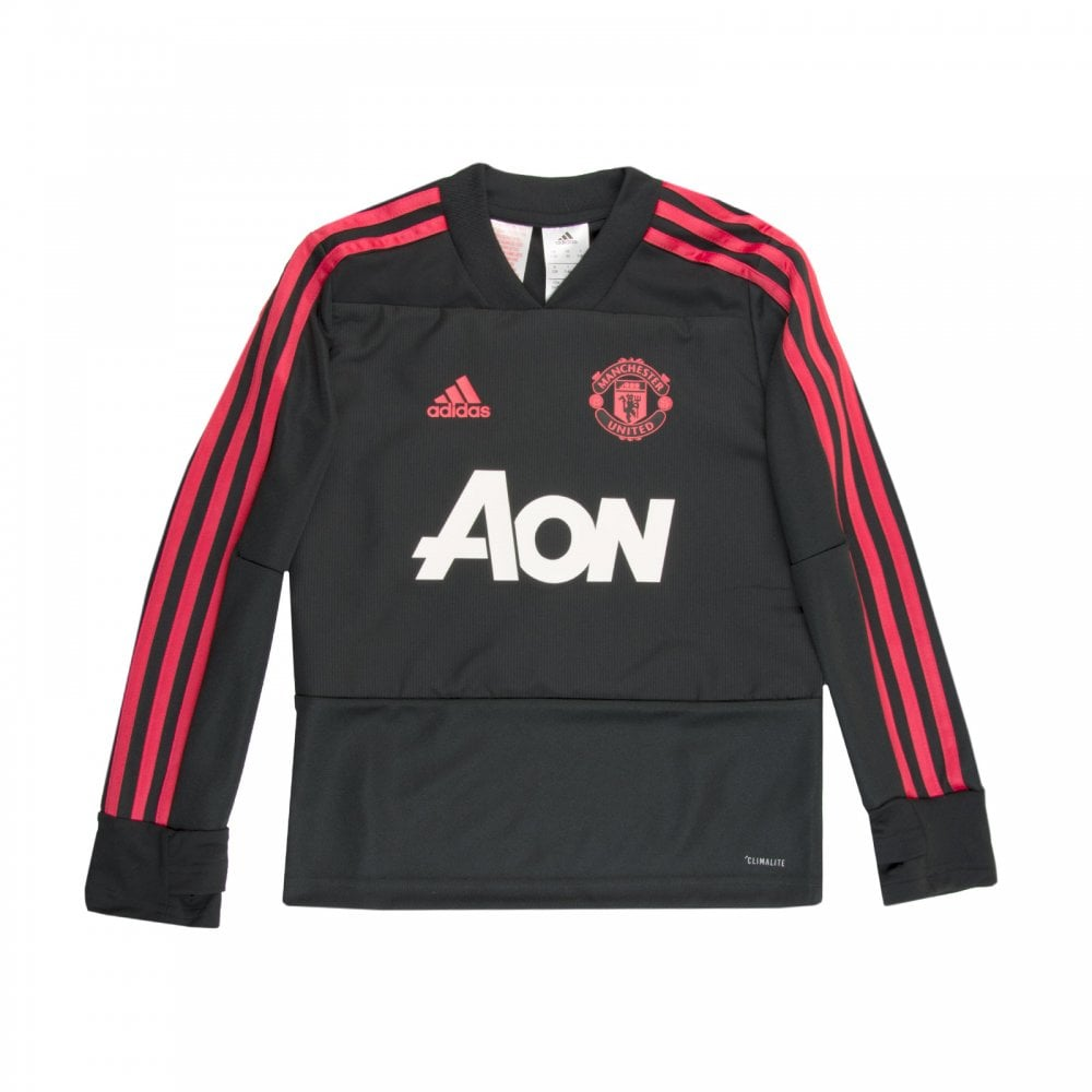 0f0b4526fe4 ADIDAS Performance Juniors Manchester United Training Top (Black ...