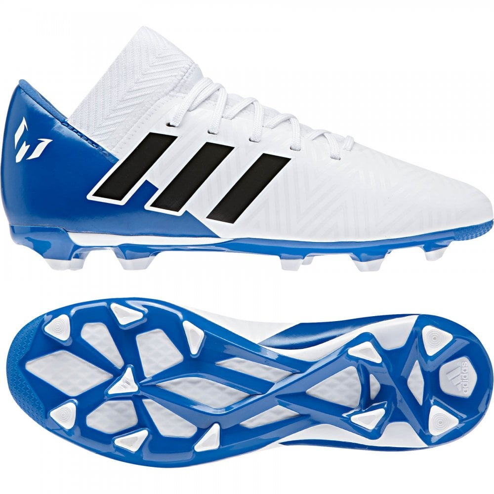 5d58fa72c557 ADIDAS Performance Juniors Nemeziz Messi 18.3 FG Football Boots (White)