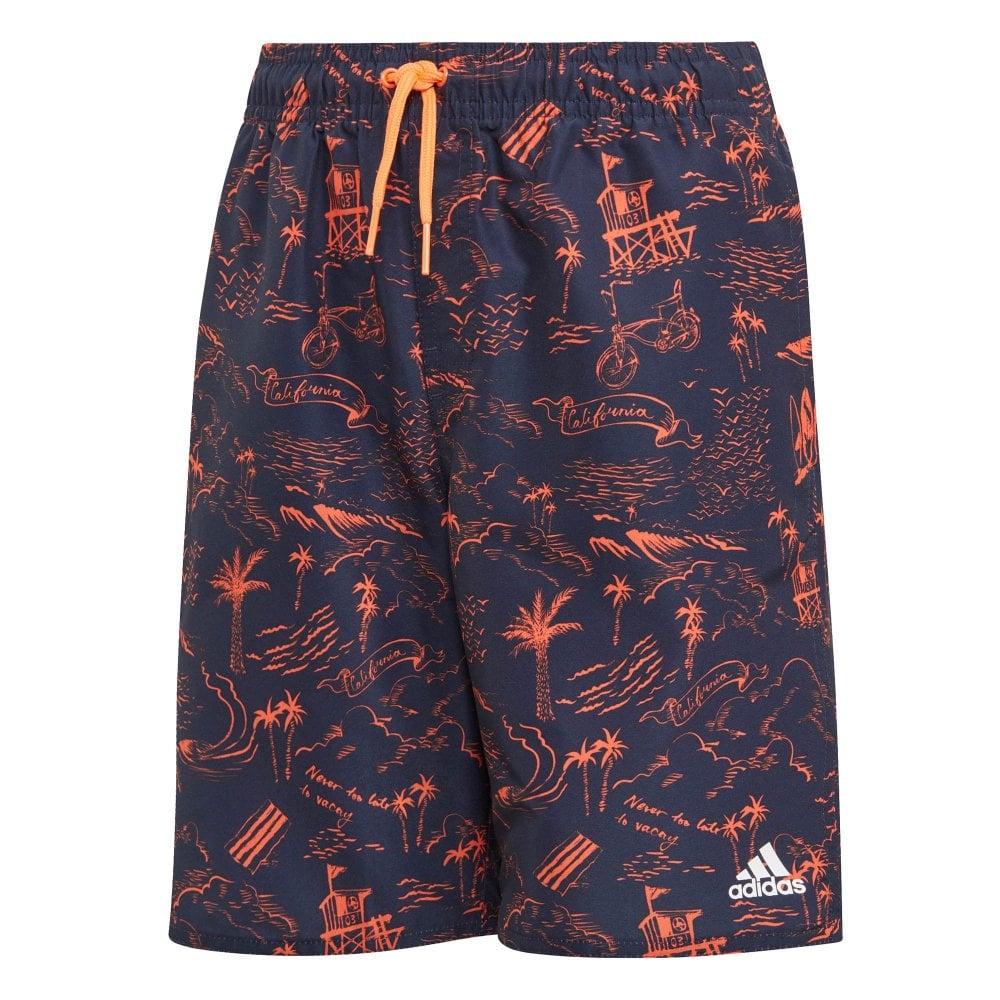 c81704eab54e5 ADIDAS Performance Juniors Patterned Swim Shorts (Navy / Orange ...