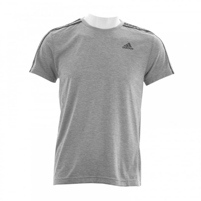Adidas Performance Mens 3-Stripe 116 T-Shirt (Grey/White)