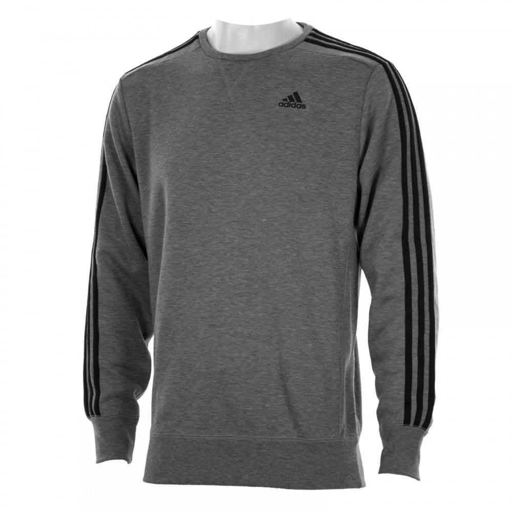 Adidas Performance Mens 3 Stripe Crew Sweatshirt Grey
