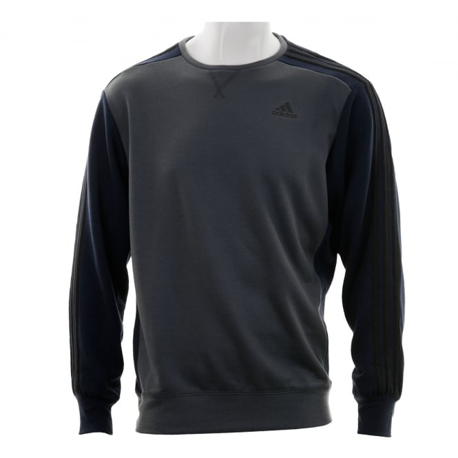 Adidas Performance Mens 3-Stripe Crew Sweatshirt (Grey/Navy)