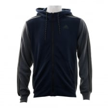 Adidas Performance Mens 3-Stripe Fleece 316 Hooded Top (Navy)