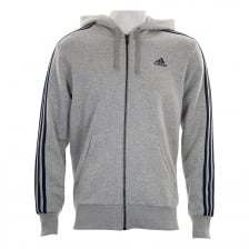 Adidas Performance Mens 3-Stripe Hoodie (Grey/Navy)