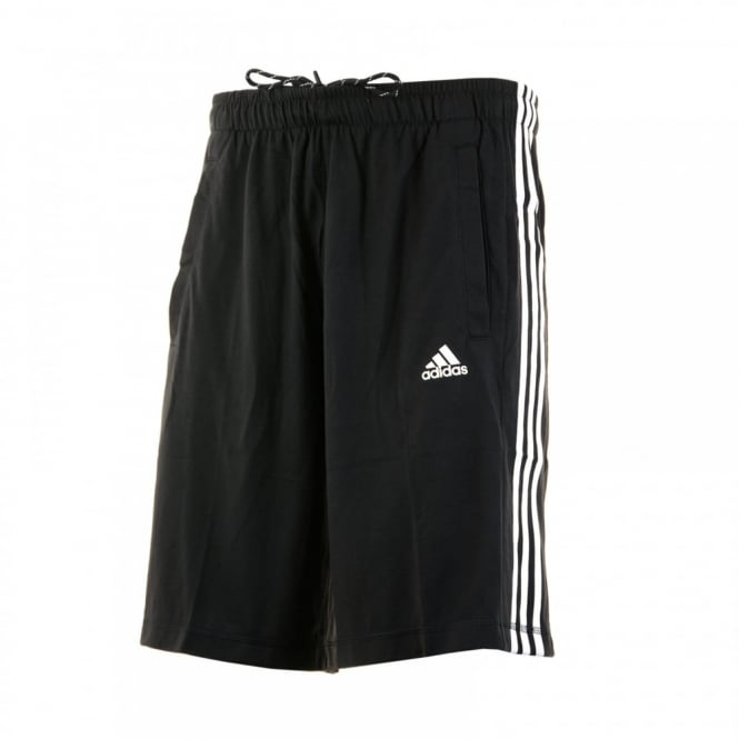 Adidas Performance Mens 3-Stripe Jersey Shorts (Black/White)