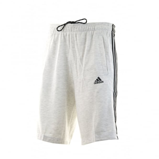 Adidas Performance Mens 3-Stripe Jersey Shorts (White Melange/Black)