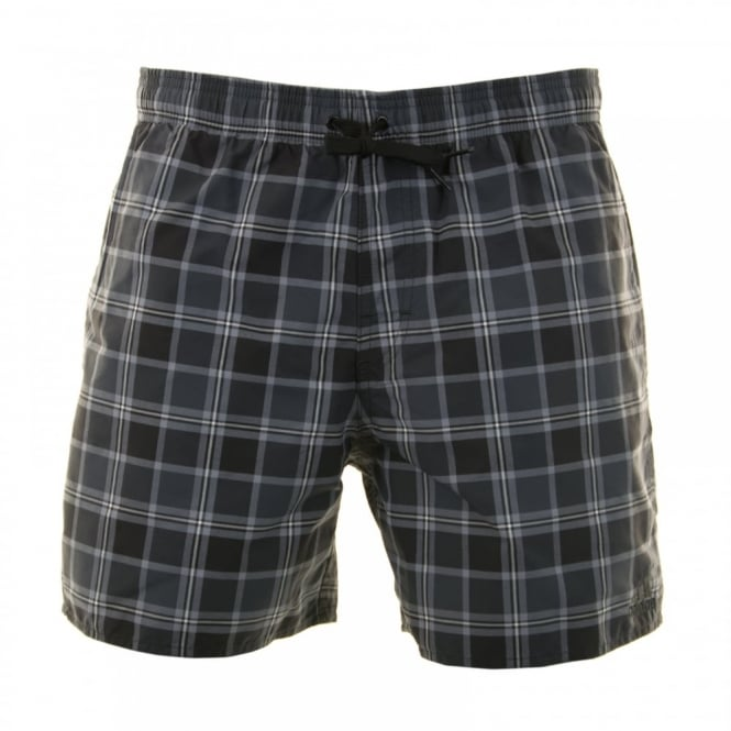 Adidas Performance Mens Check Swim Shorts (Black/Dark Grey/White)