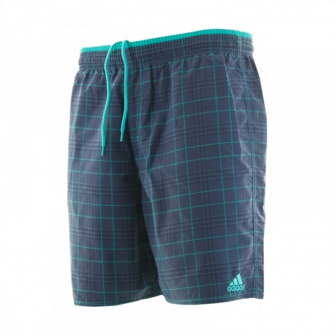 Adidas Performance Mens Check Swim Shorts (Navy/Green)