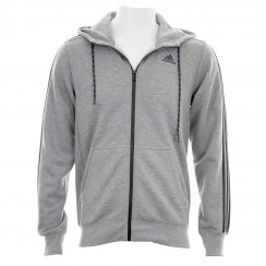 Adidas Performance Mens Essential 3-Stripe Full Zip Hoody (Grey/Black)
