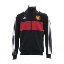 Adidas Performance Mens Manchester United 3-Stripe 117 Track Top (Black/Real Red/White)