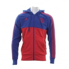 Adidas Performance Mens Manchester United 3-Stripe Hooded Top (Core Royal/Real Red)