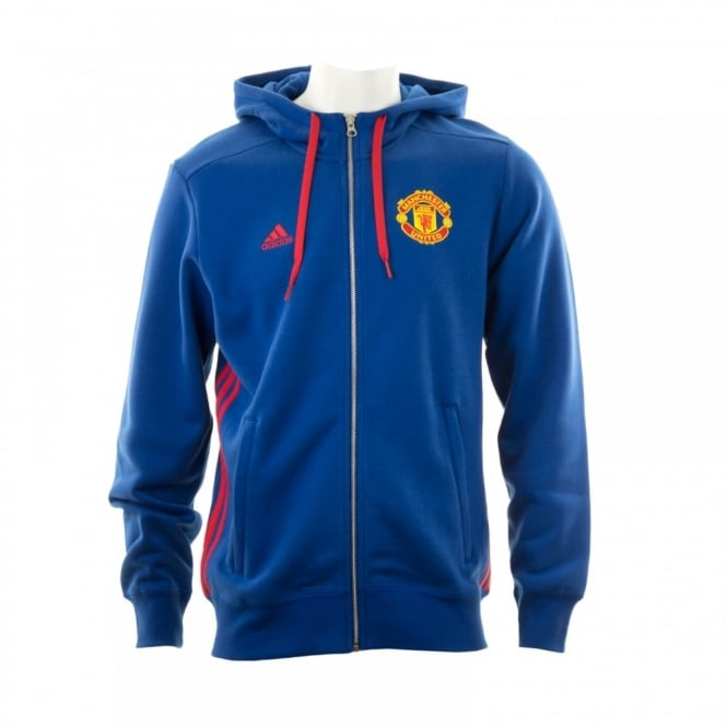 Adidas Performance Mens Manchester United 3-Stripe Hooded Top (Royal Blue/Real Red)