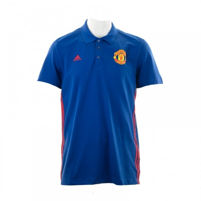 Adidas Performance Mens Manchester United 3-Stripe Polo Shirt (Royal Blue/Real Red)