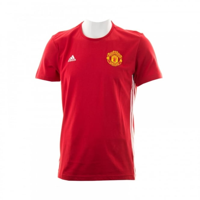 Adidas Performance Mens Manchester United 3-Stripe T-Shirt (Real Red/White)