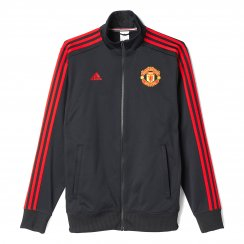 Adidas Performance Mens Manchester United 3 Stripe Track Top 2015/2016 (Black/Red)