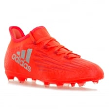 Adidas Performance Youths X1601 FG Speed Tech Fit Football Trainers (Solar Red/Metallic Silver)
