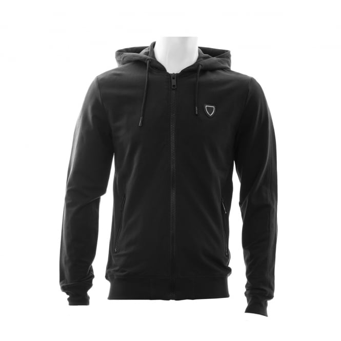 Antony Morato Mens Silver Badge Zip Hooded Sweat (Black)
