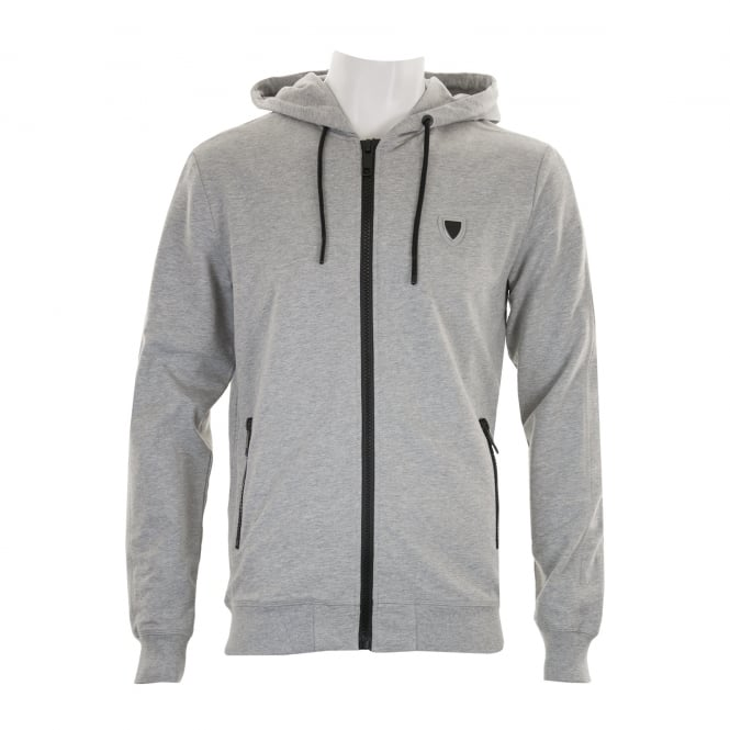 Antony Morato Mens Silver Badge Zip Hooded Sweat (Grey)