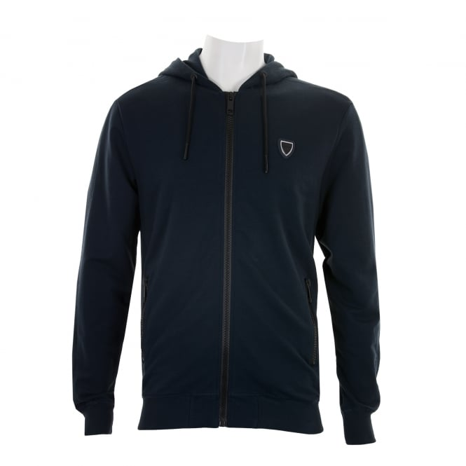Antony Morato Mens Silver Badge Zip Hooded Sweat (Navy)