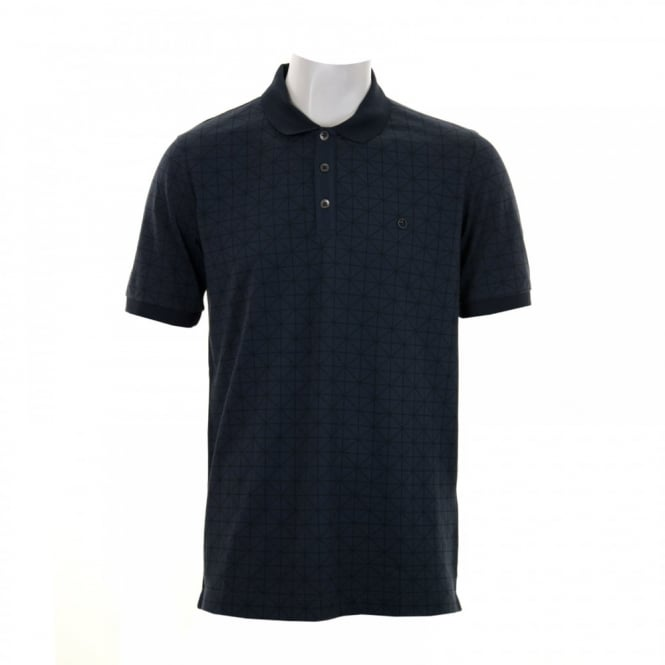 Armani Collezioni Diamond Pattern Polo Shirt (Blue)