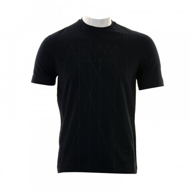 Armani Collezioni Mens Abstract Logo T-Shirt (Navy)