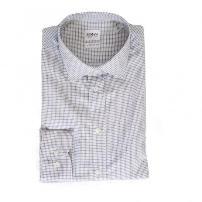 Armani Collezioni Mens Modern Fit Check Shirt (White)