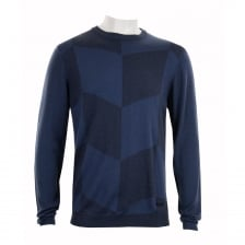 Armani Collezioni Mens Pattern Crew Knit Sweater (Blue)