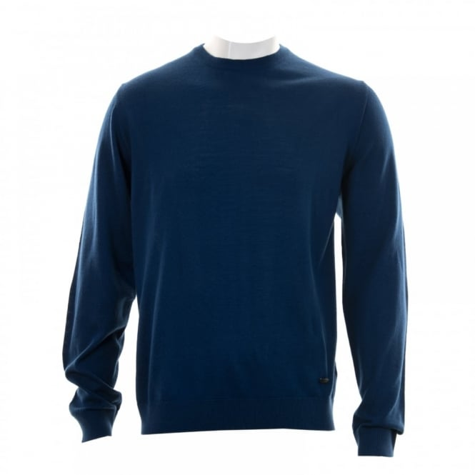 Armani Collezioni Mens Plain Crew Neck Knit Sweater (Blue)