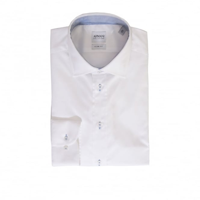 Armani Collezioni Mens Slim Fit Plain Shirt (White)