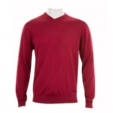 Armani Collezioni Mens V Neck Knit Sweater (Red)