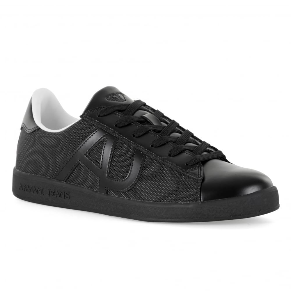 Armani Jeans Mens Logo Trainers (Black)