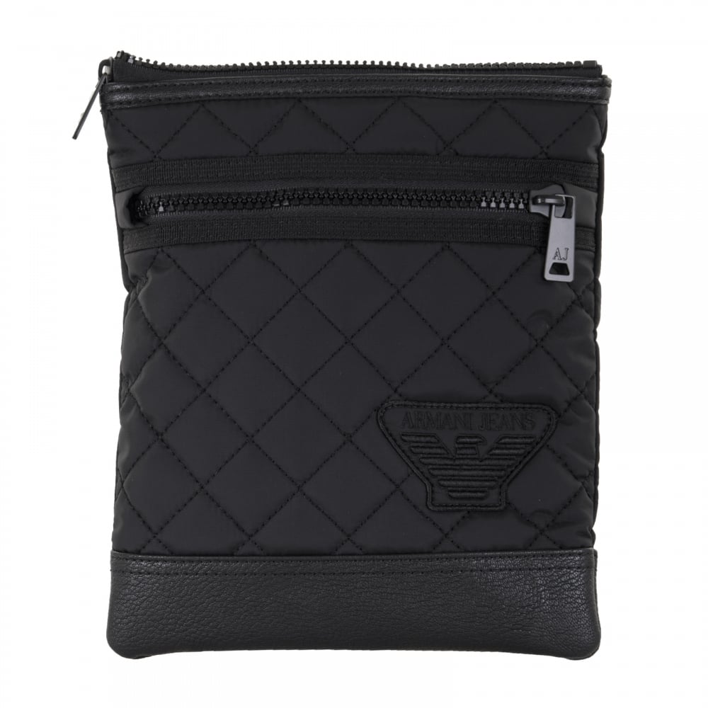 Armani Jeans Mens Quilted Shoulder Pouch Bag Black