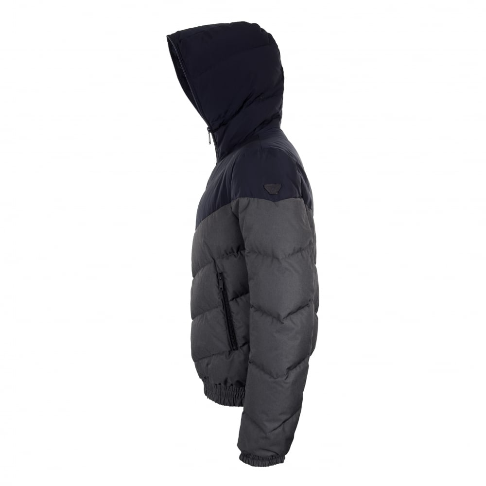 Armani Jeans Mens Two Tone Quilted Down Jacket Blue Mens From