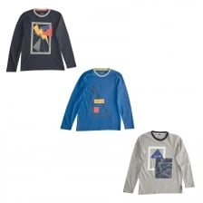 Armani Juniors 3 Pack Long Sleeve T-Shirts (Blue/Navy/Grey)