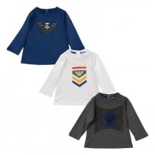 Armani Juniors 3 Pack Print T-Shirts (Blue/White/Grey)