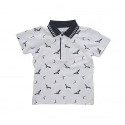 Armani Juniors CXF05 Eagle Print Polo Shirt (White)