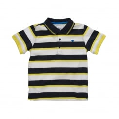 Armani Juniors Striped Polo Shirt (White/Navy/Yellow)