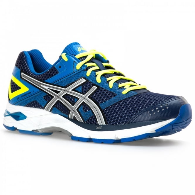 Asics Tiger Mens Phoenix 7 Trainers (Indigo Blue/Silver/Flash Yellow)
